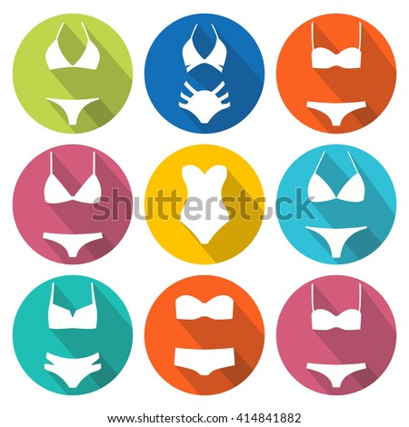 set of swimming suit icons with