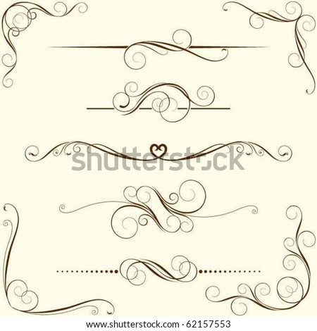 Set of swirl floral ornaments - stock vector