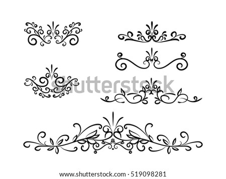 Set of swirl motif decoration