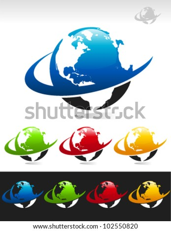 Set of swoosh globe logo icons