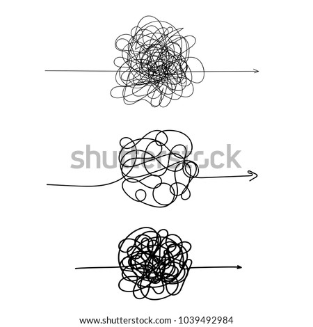Set of symbol of complicated way with scribbled round element, chaos sign, pass the way linear arrow with clew or tangle ball in center. Vector illustration. Isolated on white background