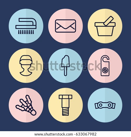 set of 9 symbol outline icons