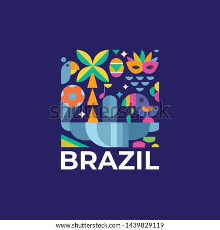 Set of symbolic icons of Brazil country vector art and illustration Brazilian Colors, Brazilian Flag  #1439829119