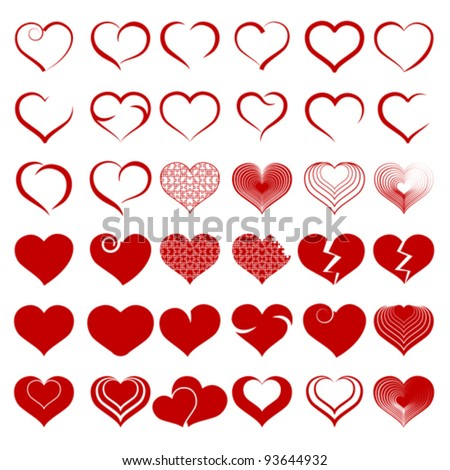 set of symbols heart red heart