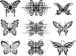 Set of symmetric butterfly tattoos. EPS vector illustrations.