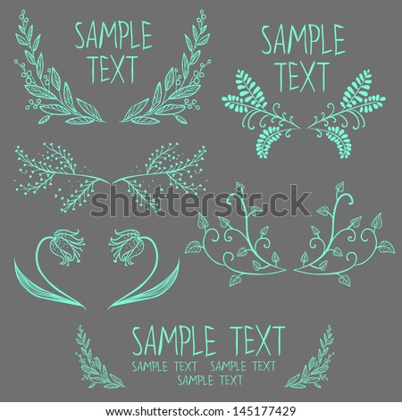 set of symmetrical floral