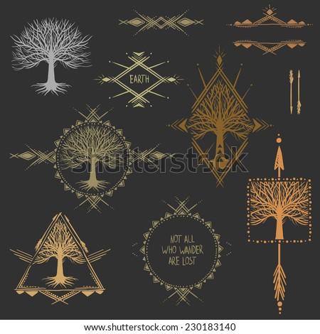 Set of symmetrical graphic design elements.