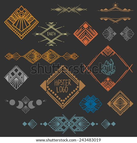 Set of symmetrical graphic design elements