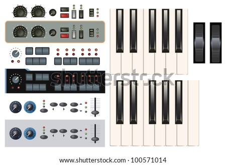 Set of Synthesizer Keys Knobs Buttons and Faders