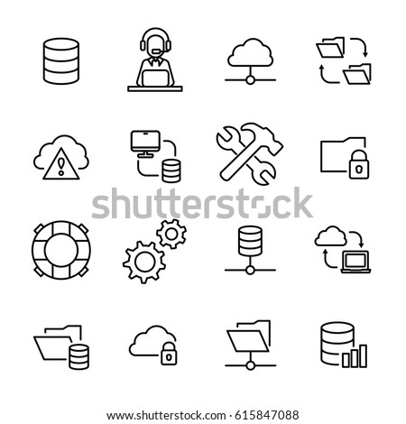 Set of system administration icons in modern thin line style. High quality black outline symbols for web site design and mobile apps. Simple linear pictograms on a white background.