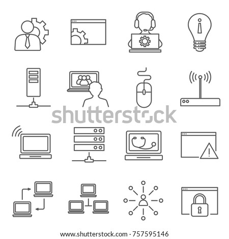 Set of System administrator Related Vector Line Icons. Includes such Icons as PC user, tech support, laptop, local network, computer technology and etc.
