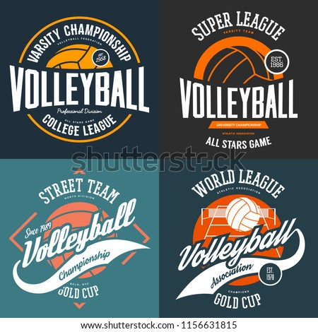 Set of t-shirt logo designs for volleyball players. Sport signs for club or center advertising or university, college teams. Clothing and branding, fashion and team ball games theme