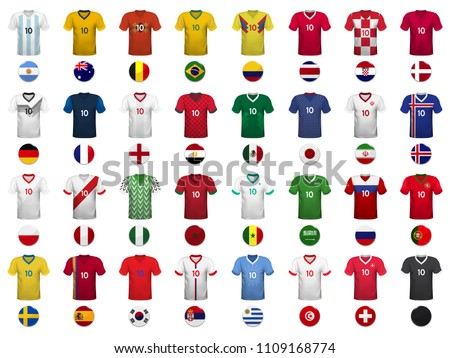 Set of T-shirts and flags of the national team. Vector illustration.