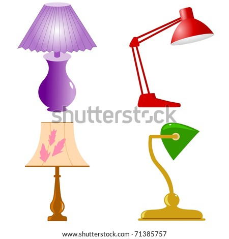 Set of table lamps. Vector