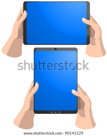 Set of tablet PC frames in hands