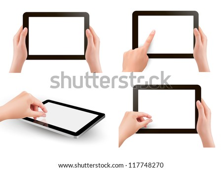 Set of tablet screen with hands. Vector.