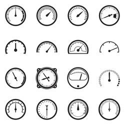 Set of tachometer icons. Vector illustration
