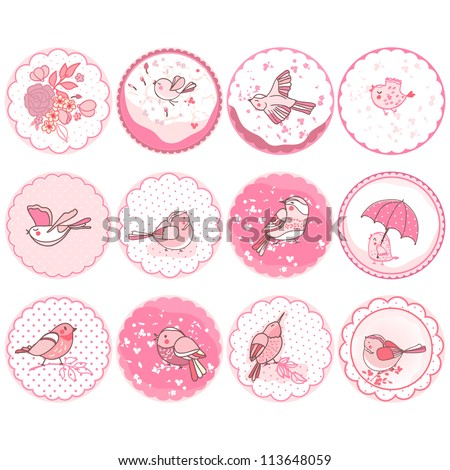 set of tags with bird theme
