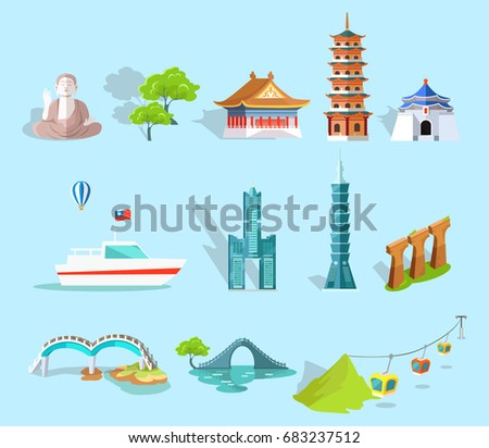 set of taiwan attractions
