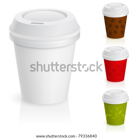 Set of takeaway coffee cups. Illustration on white background.