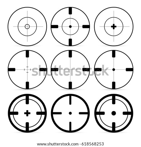 set of 9 targets icons in flat