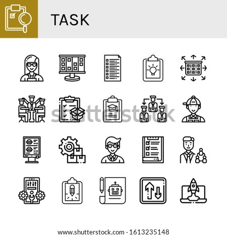 Set of task icons. Such as Clipboard, Planner, Planning, List, Manager, Manage, Order, Management, Configuration, Plan, Priority , task icons