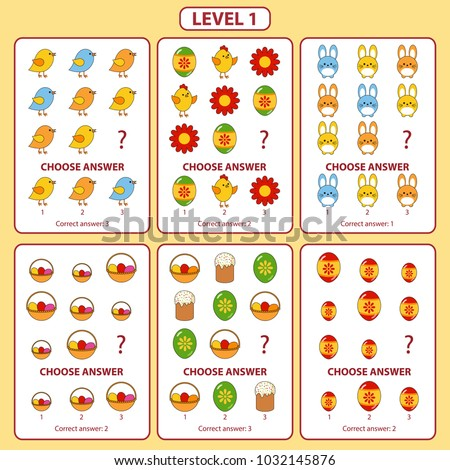 Set of tasks for the development of logical thinking of children. Difficulty level 1. Set of logical tasks comprises of Easter bunny, Easter cake, chick, eggs and spring flowers. Vector illustration