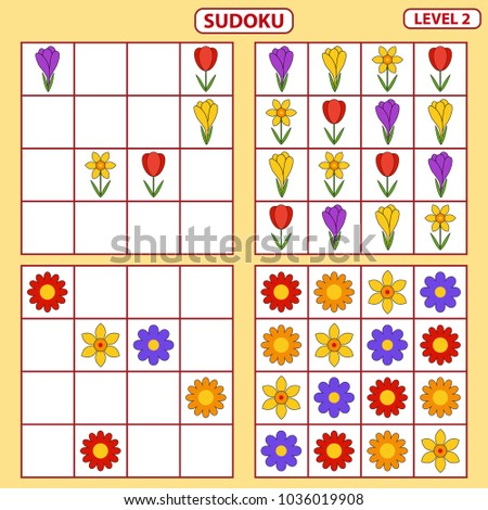 Set of tasks for the development of logical thinking of children. Education game. Sudoku game with pictures. Difficulty level 2. Set of logical tasks on the theme of spring. Vector illustration
