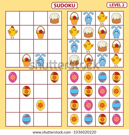 Set of tasks for the development of logical thinking of children. Education game. Sudoku game with pictures. Difficulty level 2. Set of logical tasks on the theme of Easter. Vector illustration