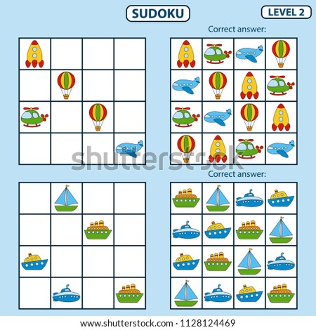 Set of tasks for the development of logical thinking of children. Education game. Sudoku game with pictures. Difficulty level 2. Set of logical tasks on the theme of transport. Vector illustration