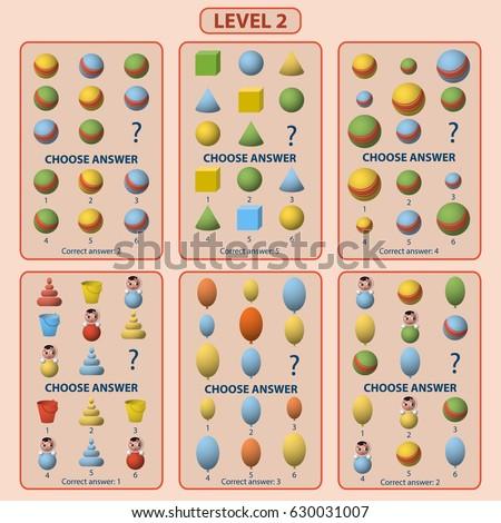Set of tasks for the development of logical thinking of children. Level 2. Set of logical tasks composed of kids toys. Vector illustration