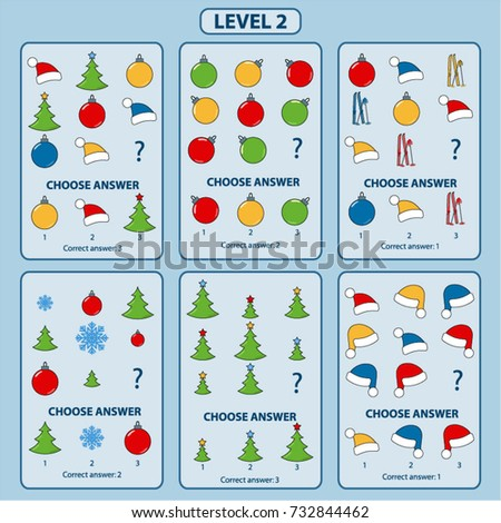 Set of tasks for the development of logical thinking of children. Level 2. Set of logical tasks composed of Christmas tree, snowflakes, Santa Claus hat, Christmas balls and skis. Vector illustration