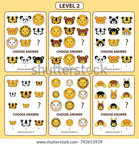 Set of tasks for the development of logical thinking of children. Level 2. Set of logical tasks composed of faces of tiger, lion, bear, raccoon, dog, panda, hamster. Vector illustration