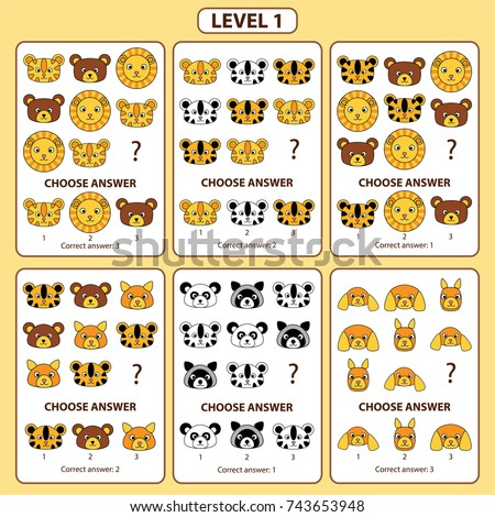 Set of tasks for the development of logical thinking of children. Level 1. Set of logical tasks composed of faces of tiger, lion, bear, raccoon, dog, panda, hamster. Vector illustration