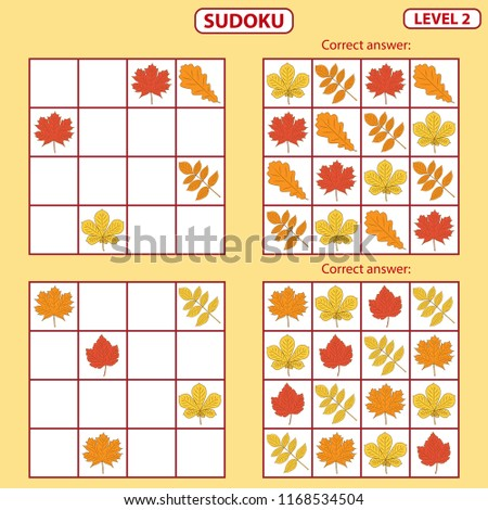 Set of tasks for the development of logical thinking of children. Sudoku with pictures is education game. Difficulty level 2. Autumn theme. Paste pictures into the correct cells. Vector illustration
