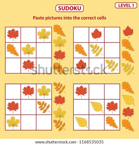 Set of tasks for the development of logical thinking of children. Sudoku with pictures is education game. Difficulty level 1. Autumn theme. Paste pictures into the correct cells. Vector illustration