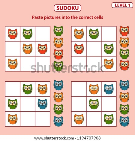 Set of tasks for the development of logical thinking of children. Sudoku with pictures is education game. Difficulty level 1. Birds theme. Paste pictures into the correct cells. Vector illustration