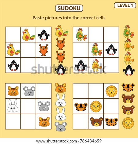 Set of tasks for the development of logical thinking of children. Sudoku with pictures is education game for children. Difficulty level 1. Paste pictures into the correct cells. Vector illustration