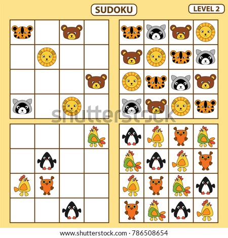 Set of tasks for the development of logical thinking of children. Sudoku with pictures is education game for children. Difficulty level 2. Paste pictures into the correct cells. Vector illustration