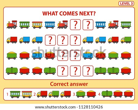 Set of tasks for the development of logical thinking of children. What comes next is educational children game. Find the regularity and right composite the row task. Level 3. Vector illustration