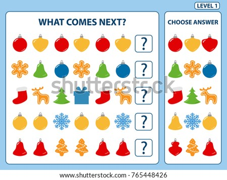 Set of tasks for the development of logical thinking of children. What comes next is educational children game. Find the regularity and continue the row task. Difficulty level 1. Vector illustration