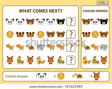 Set of tasks for the development of logical thinking of children. What comes next is educational children game. Find the regularity and continue the row task. Difficulty level 2. Vector illustration