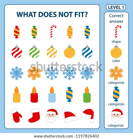 Set of tasks for the development of logical thinking of children. What does not fit is education children game. Difficulty level 1. Set composed of Christmas decorations. Vector illustration