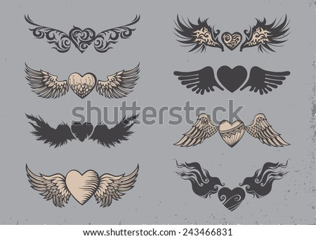 set of tattoo black hearts with