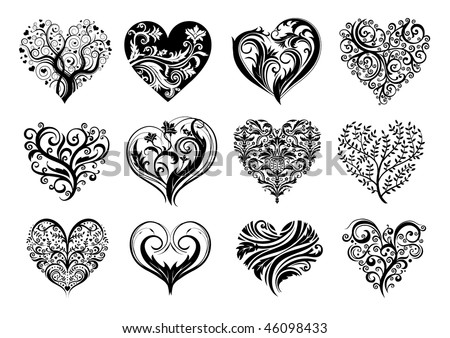 Set of 12 tattoo hearts