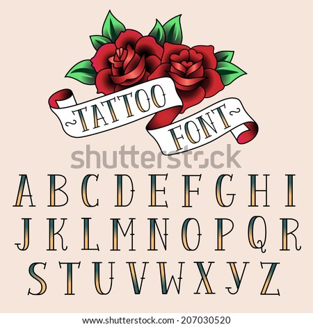 set of tattoo style letters