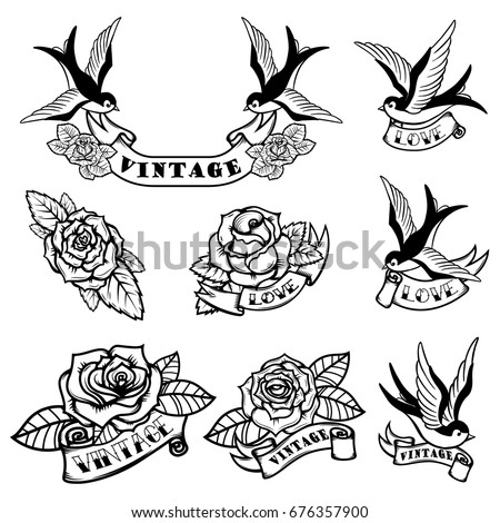 Set of tattoo templates with swallows and roses. Old school tattoo. Vector illustration
