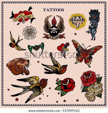 Set of tattoos in traditional vintage style. Vector illustration.