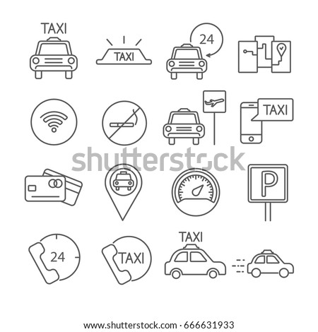 Set of taxi Related Vector Line Icons. Contains such icon as taxi service, taxi cab, traffic,transportation,driver, navigation, speedometer