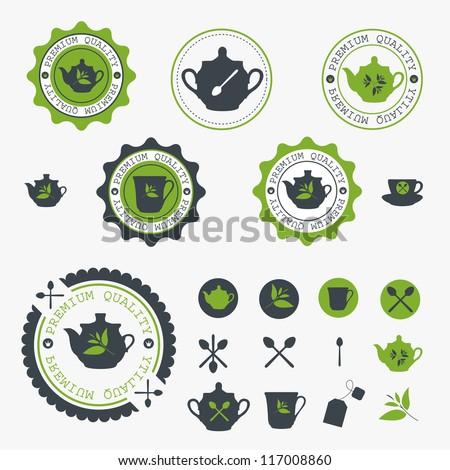 Set of tea lable. Vector